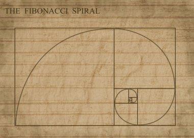The Fibonacci spiral on sepia retro style