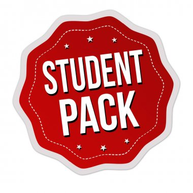 Student pack label or sticker on white background, vector illustration icon