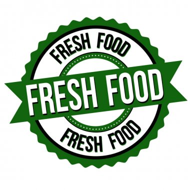 Fresh food label or sticker on white background, vector illustration icon