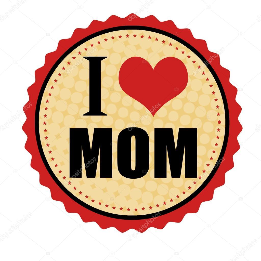 I love mom sticker or stamp