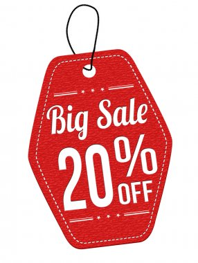 Big sale 20 off red leather label or price tag