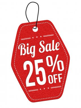 Big sale 25 off red leather label or price tag