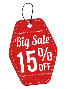 Big sale 15 off red leather label or price tag