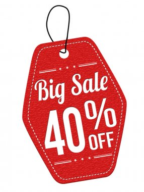 Big sale 40 percent off red leather label or price tag