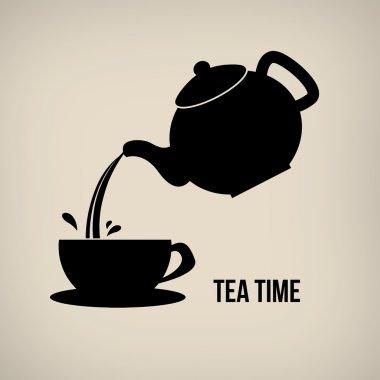 Tea time icon poster