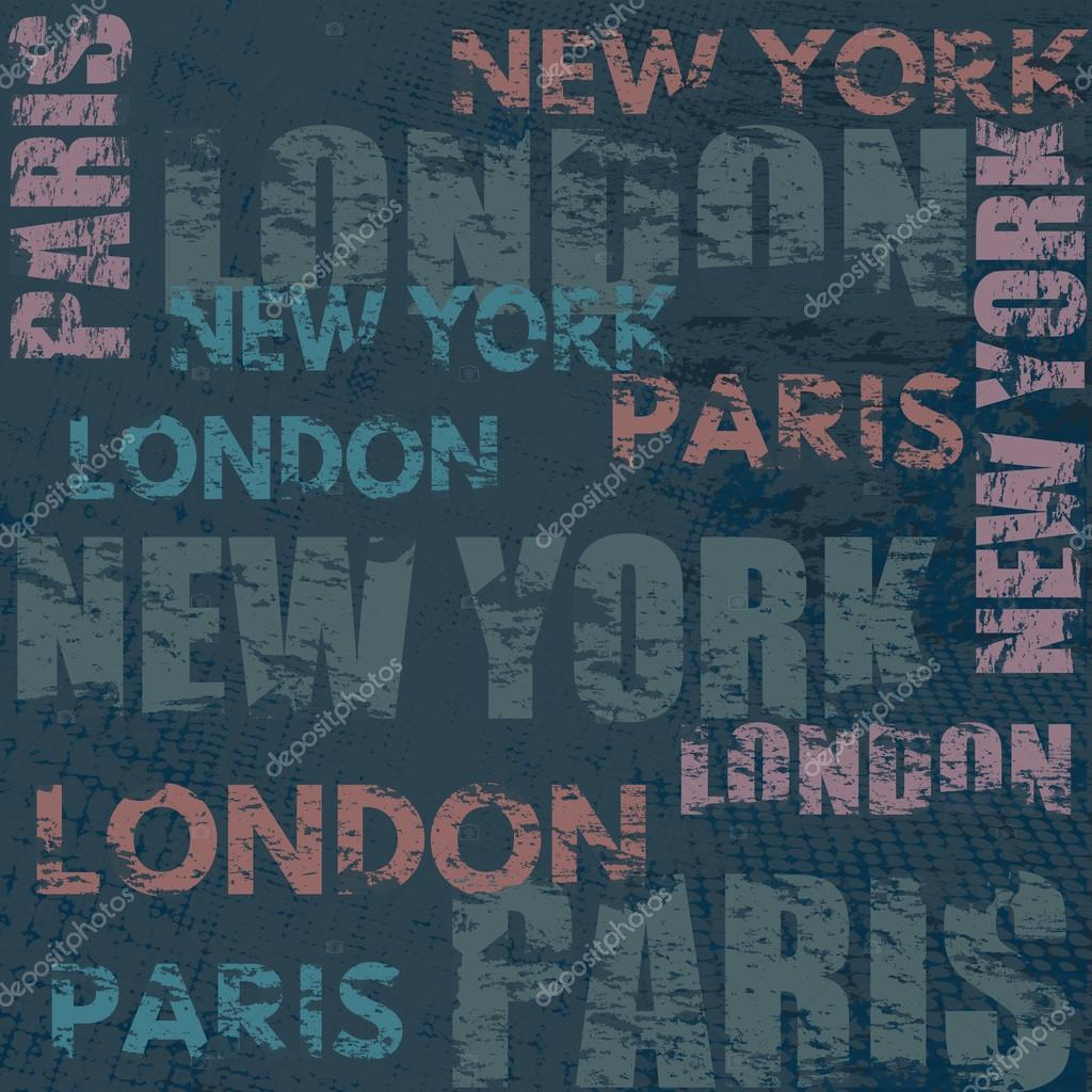Poster design new york - Typographic Poster Design With City Names London Paris And New York Stock Vector