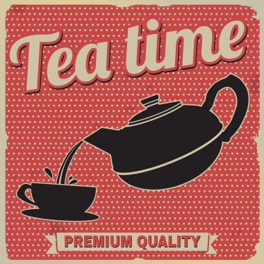 Tea time retro poster