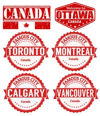 Set of Canada cities stamps