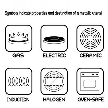 Metallic tableware symbols for food grade metal