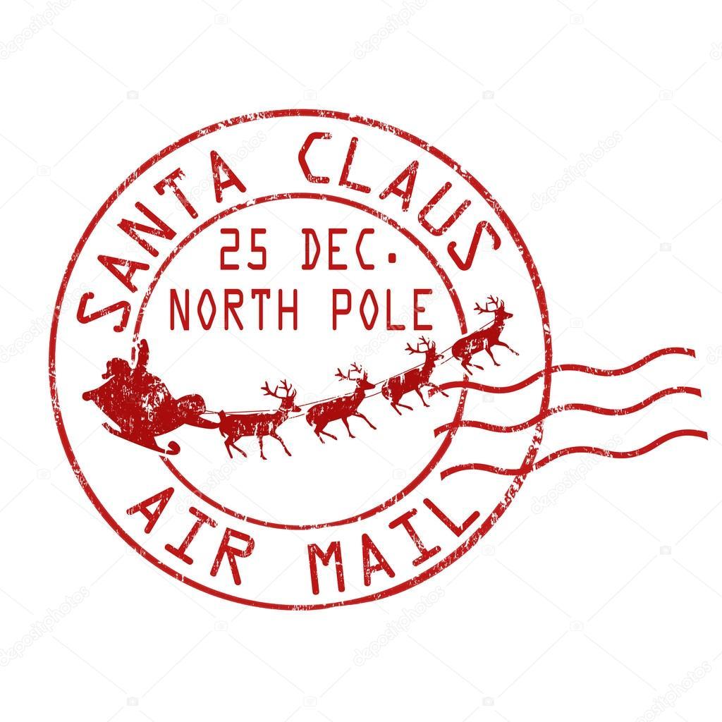 Santa Claus Air Mail Stamp Stock Vector 169 Roxanabalint