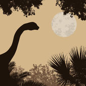 Fotografie Dinosaur silhouette on beautiful forest