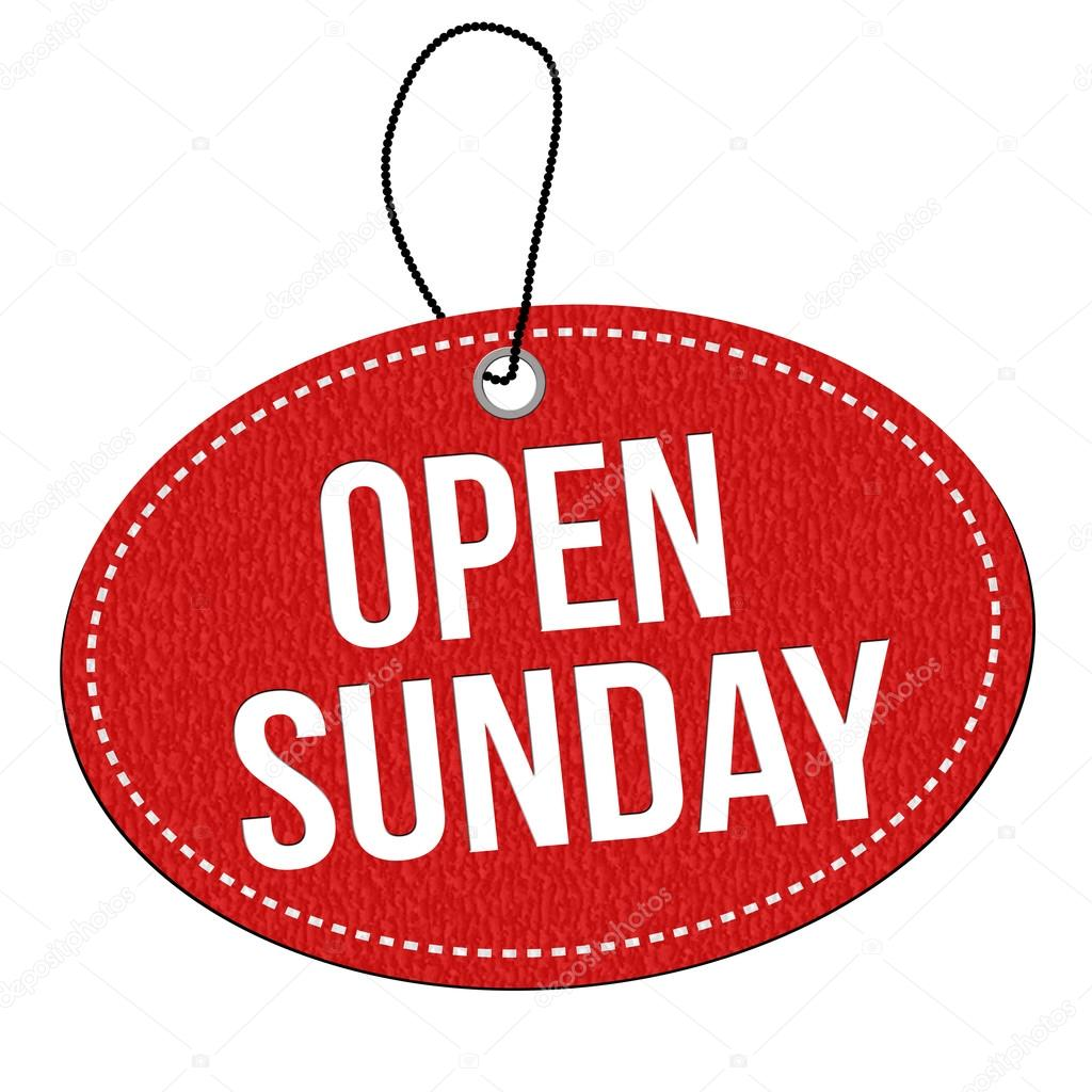 Open Sunday Label Or Price Tag