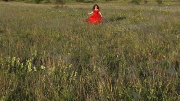 Szép kislány fut a zöld rét