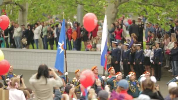SEVASTOPOL, REPUBLIC OF CRIMEA - MAY 9, 2014: Great parade devoted to Victory Day on the main square in Sevastopol with military forces.