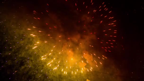 Amazing Cirlces And Golden Rain Fireworks On Night Sky Background
