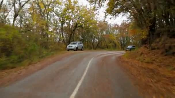 Auto v podzim lesní cestě vinutí