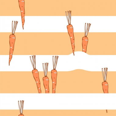 Vegetables seamless pattern, carrots