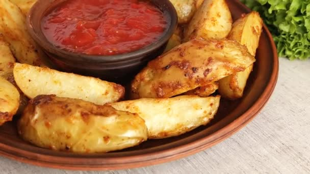pečené bramborové plátky máčené v omáčce