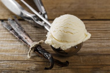Ball of vanilla ice cream in a spoon scoop
