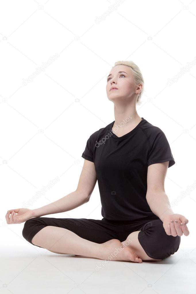 Yoga Auf Dem Boden Stockfoto C Jayfish 100494500