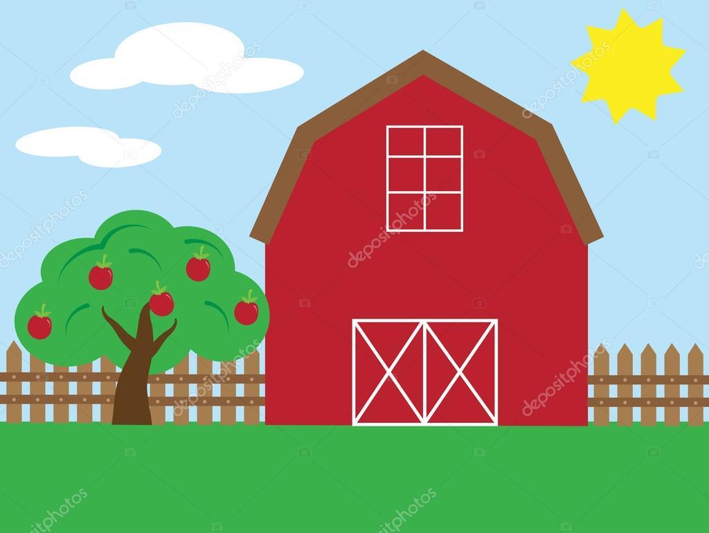 Red Barn Yard Stock Vector