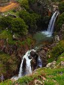 Fotografie Saar Waterfalls in the spring at the Golan Heights (Israel).