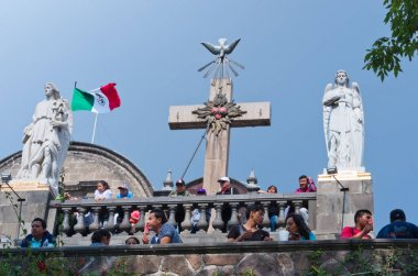 Mexico City, Mexico - December 10, 2016: Statues of the Archangels Gabriel and Uriel  on the top of Tepeyac Hill near the Basilica of Guadalupe in Mexico Cit