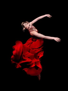 Woman dancer in red dress