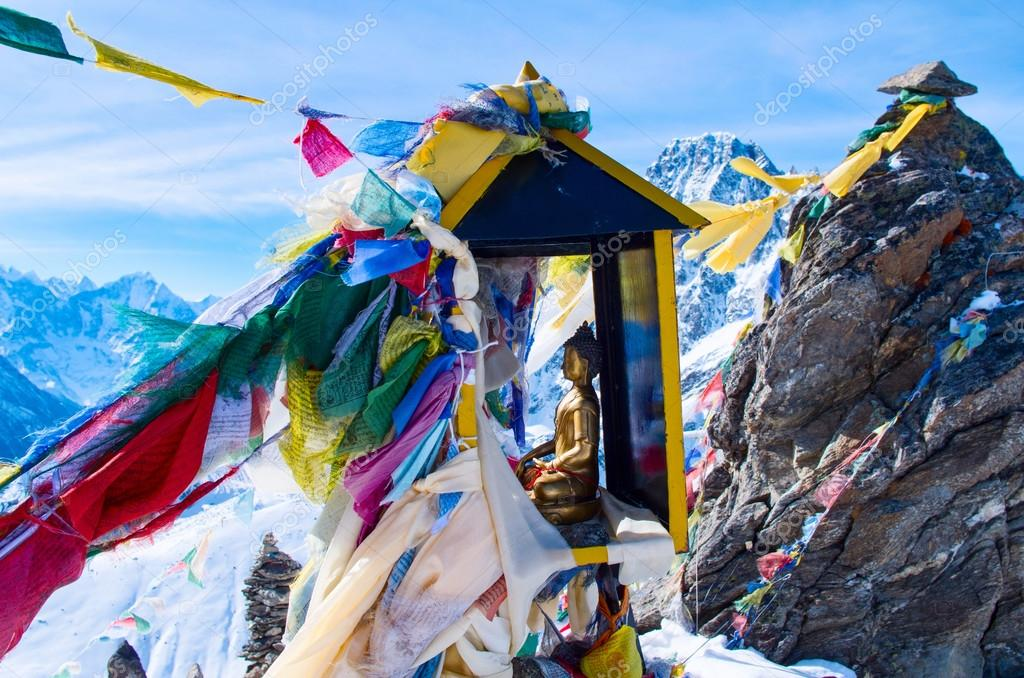 Gokyo ri with prayer flags in Nepal