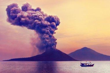 Close-up of volcano eruption
