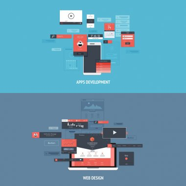 Design concepts Icons for apps development and web design