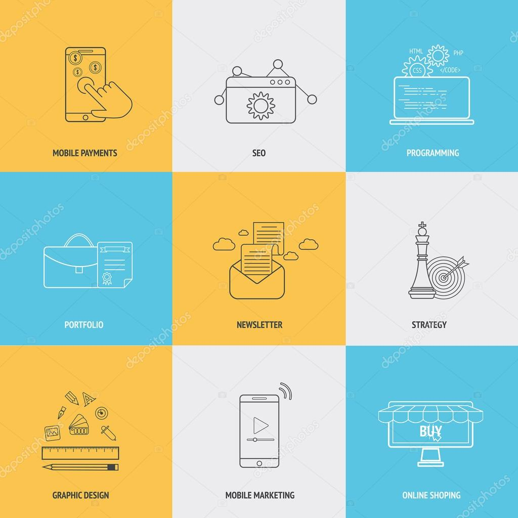 Set of flat line icons concepts