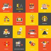 Plochý design koncept ikony