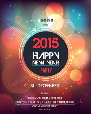 Happy New Year 2015  Abstract  Flyer Template