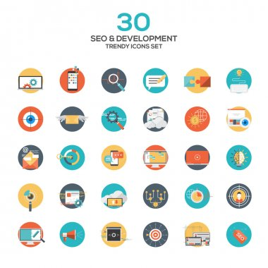 Set of modern flat design SEO and development icons