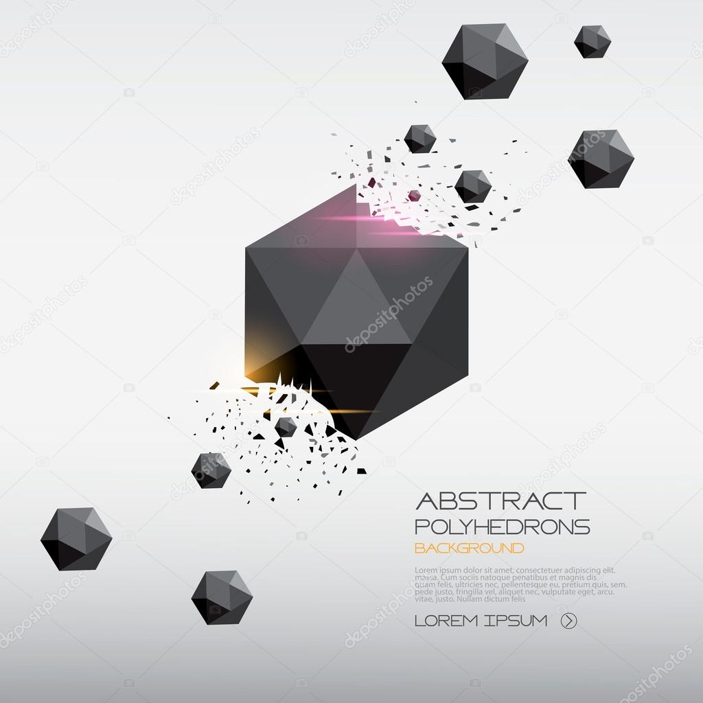 Abstract polyhedrons background design