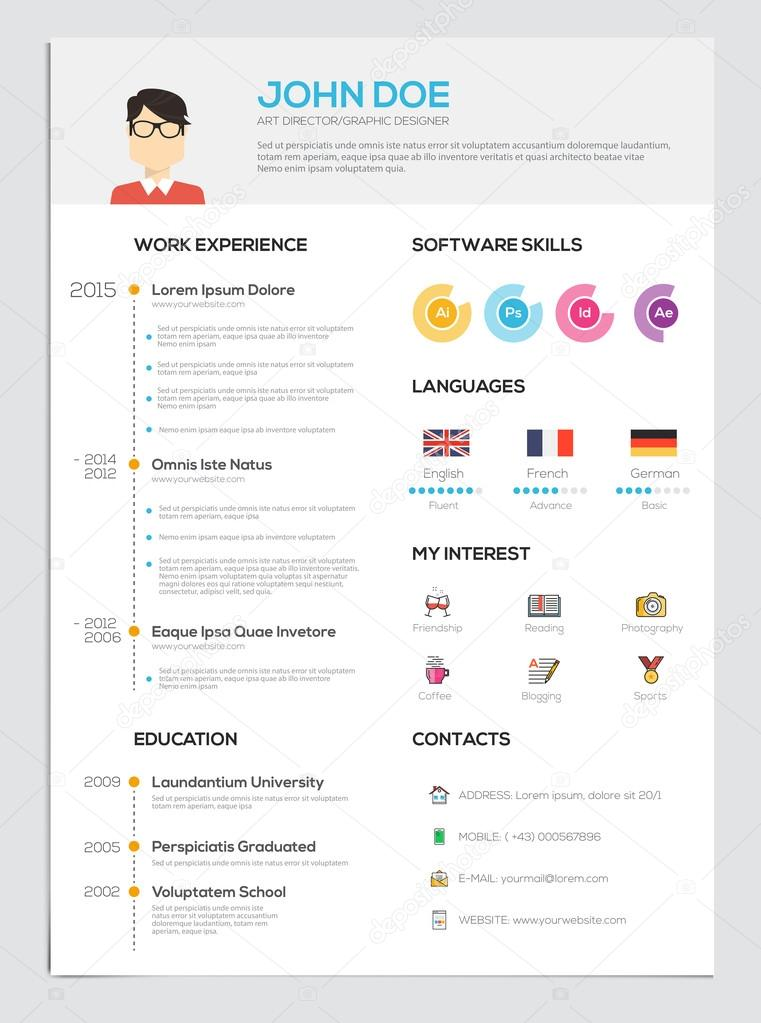 flat resume with infographics  u2014 stock vector  u00a9 darkovujic  78036808