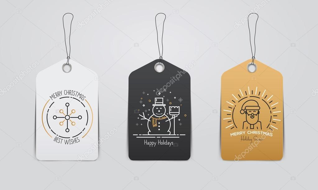 Colección de etiquetas de lindo regalo de Navidad y año nuevo ...
