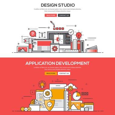 Flat design line concept -Design Studio and Application Developm