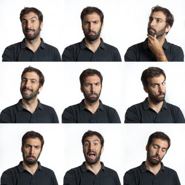 young man face expressions with beard and moustaches composite isolated