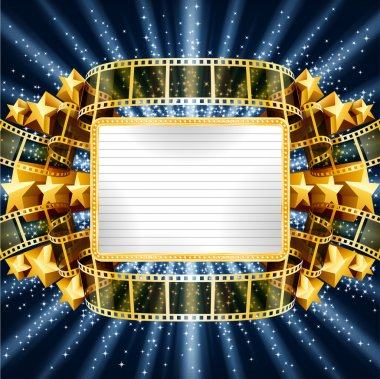 Background with golden banner and film strip