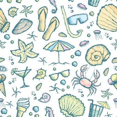 seamless sea creatures pattern