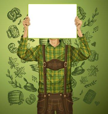 Man With Write Board On Oktoberfest