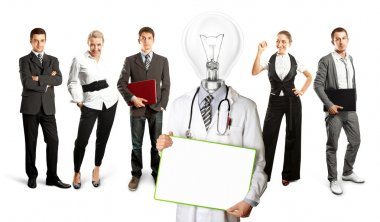 Lamp Head doctor and business team
