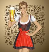 Fotografie Frau im Drindl mit Bier