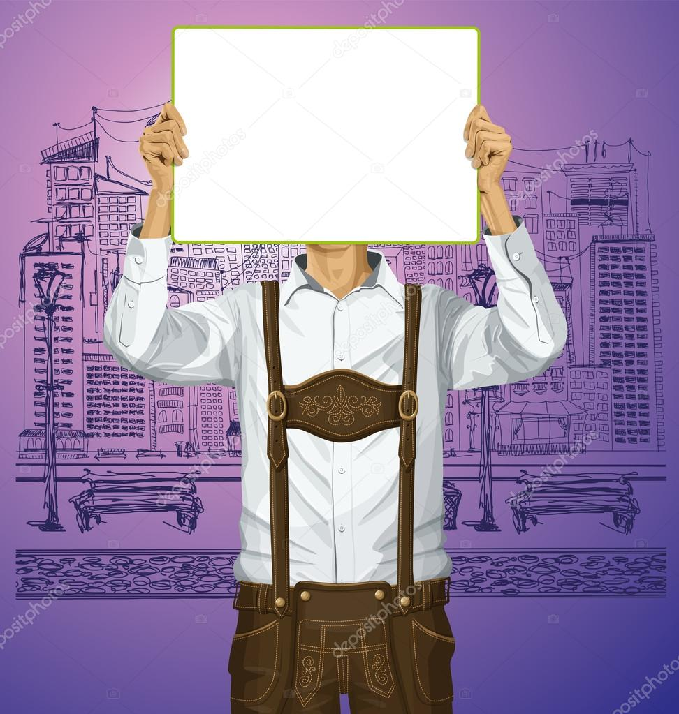 Man in lederhosen with Write Board