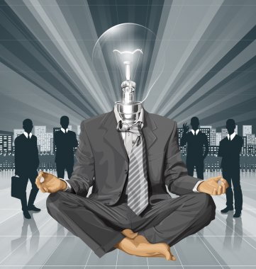 Lamp Head Businessman in Lotus Pose