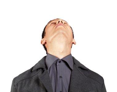 Businessman looking upwards