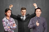 Photo Asian team and businessman with hands up