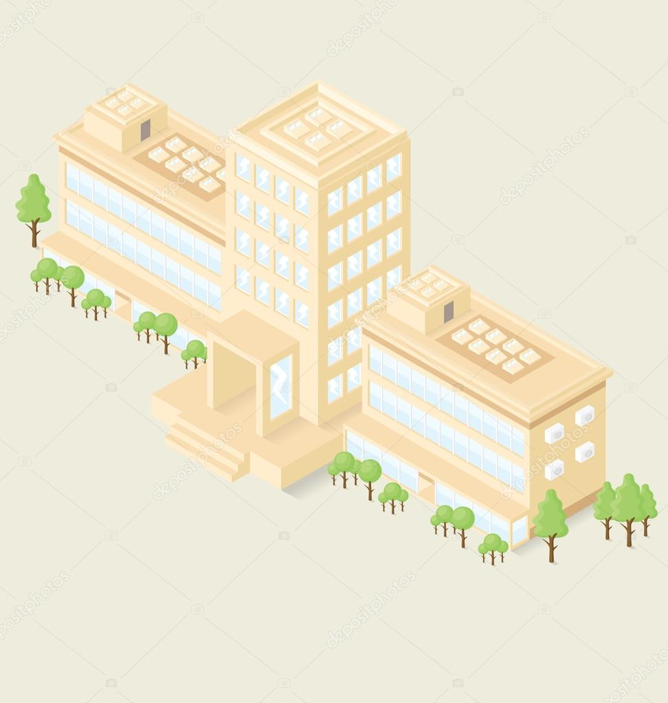 office building with trees